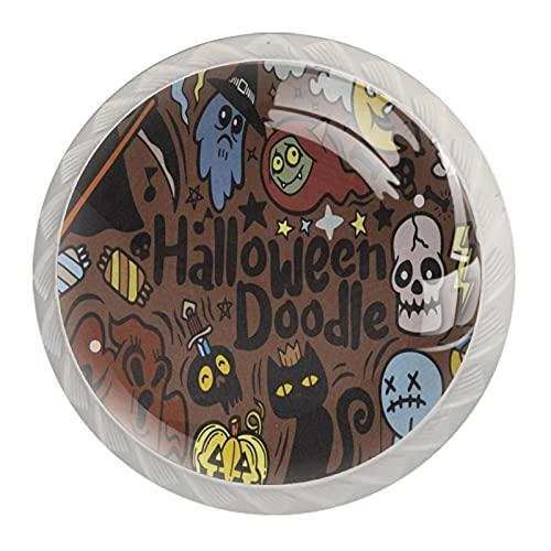 HEOH Tirador de cajón Tirador de Cristal Redondo Perillas del gabinete Manija del gabinete de Cocina,Halloween con Vampiro Bruja Momia Lobo