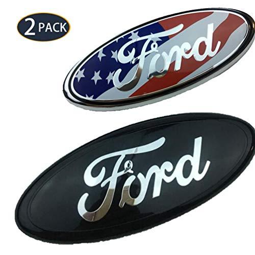 Paquete de 2 Car Logo Decorativo- Accesorios de Reinstalación de Parrilla Frontal de Ford, Logotipo Electroplacado Aplicable al Mondeo/Fox Carnival de Old Ford (Negro)