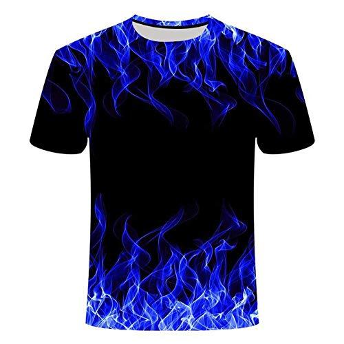 Qier Tshirt Herren Grafische Kurzarm-Oberteile, Baumwoll-T-Shirt, T-Shirts Mit 3D-Flammendruck, Schwarz, 3XL