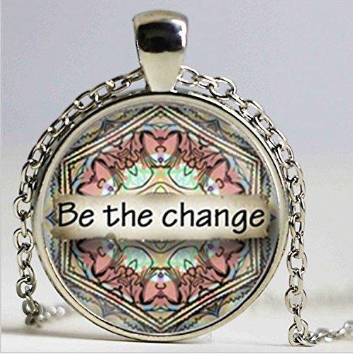 Be The Change Mandala Kunstdruck Anhänger Halskette Yoga Zen Meditation Halskette