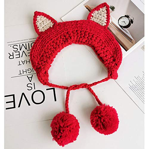 geiqianjiumai kinder hoed zachte zus haarband wol hoed oorbeschermer warme schattige kattenoren breien kant gehoorbeschermer tas fluit