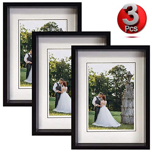 Marcos de Fotos | 3 Porta Retratos Modernos para Pared y Mesa | Portaretratos para Fotos de Bodas, Bautizo, Bebé o Comunión | Color Negro (10x15)