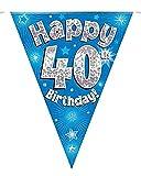 Islander Fashions Adultos Kids Party Bunting Feliz cumplea�os Banderas hologr�ficas Accesorio de decoraci�n Azul 40. � cumplea�os