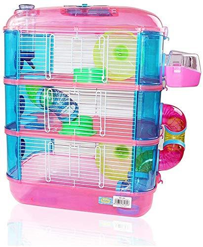 Jaulas para Hamster de plástico Duro, Jaula de Hamster XL 3 Pisos Hamster caseta Bebedero comedero Rueda Todo Incluido 40 * 26 * 53cm Color Aleatorio.