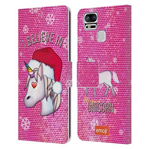 Head Case Designs Licenciado Oficialmente Emoji Unicornio Navidad Carcasa de Cuero Tipo Libro Compatible con Zenfone 3 Zoom ZE553KL