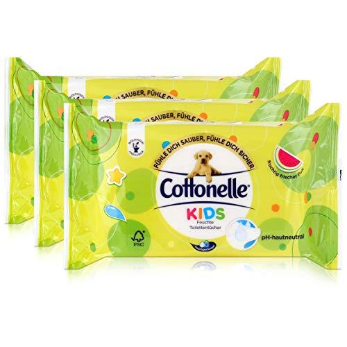 3x Hakle Cottonelle feuchte Toilettentücher Kids 42 Tücher, Nachfüller
