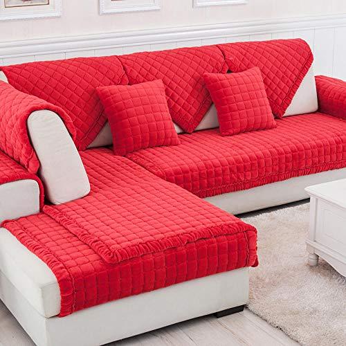 Homeen Dos Plazas Antideslizante Funda para Sofá Universal Acolchado,Funda Cubre Sofá para Chaise Long Rinconera,Cojín de sofá a Cuadros Acolchado de Terciopelo Grueso-Rojo_110×160cm