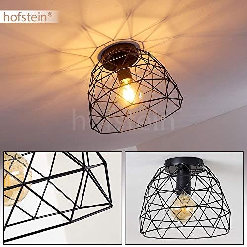 Deckenleuchte Hajom, runde Deckenlampe aus Metall in Schwarz, 1-flammig, E27-Fassung max. 25 Watt, Retro-Leuchte mit Lichteffekt durch Gitter-Optik, LED Leuchtmittel geeignet