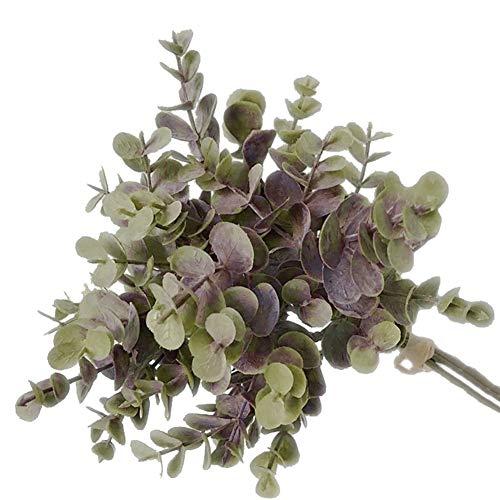 NAttnJf Artificiales Flores Eucalipto Artificial 1 Ramo de Plantas Artificiales de Hoja Falsa de eucalipto para el Banquete de Boda de Bricolaje decoración para el hogar Gris Morado