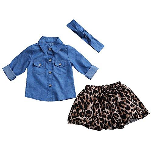 Carolilly Madre e Figlia Abiti Casual Vestito per Famiglia Madre e Figlia Abiti Estivi 2 Pezzi Camicia Jeans Maniche Lunghe + Gonna Leopardata