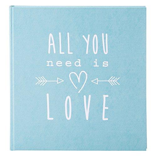 goldbuch 27083 - Hochzeitsalbum All you need is love, Fotoalbum mit 60 weißen Seiten und Pergamin Trennblätter, Erinnerungsalbum aus Strukturpapier, Foto Album in Leinenoptik, ca. 30 x 31 cm