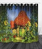 FGHJK Fantasie-Pilz-Haus-Feen-Wald Möbeldekoration Duschvorhang wasserdicht 180x180CM