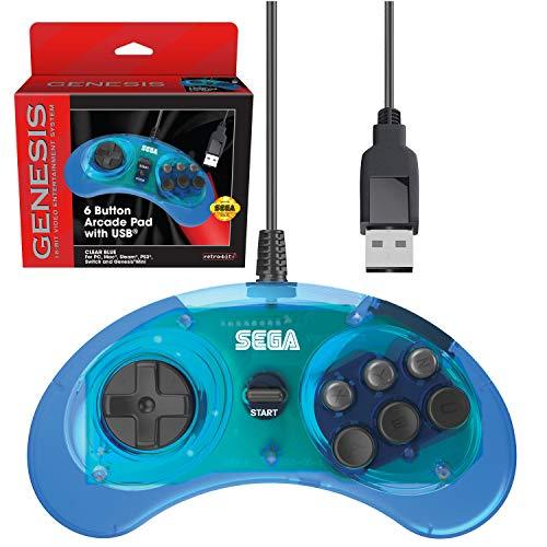 Retro-Bit Official Sega Genesis USB Controller 6-Button Arcade Pad for Sega Genesis Mini, PS3, PC, Mac, Steam, Nintendo Switch - USB Port (Clear Blue)