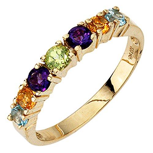 JOBO Damen-Ring aus 333 Gold mit Amethyst Blautopas Citrin Peridot Größe 60