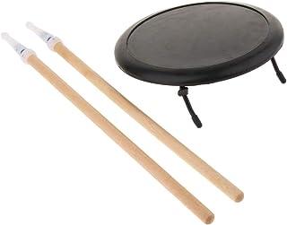 P Prettyia ダムドラム 練習パッド 8インチ ゴム製 ドラムスティック マレット ドラム練習用 収納バッグ付き