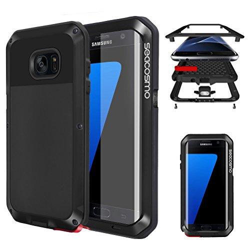 seacosmo Custodia Galaxy S7 Edge, Cover Protettiva Doppio Strato Military Protezione Alluminio Case per Samsung Galaxy S7 Edge, Nero