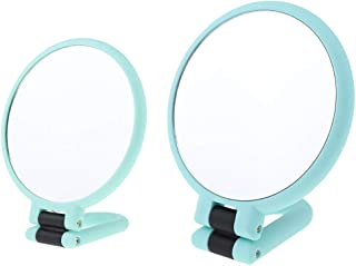 Blesiya 2Pcs 2X/15X Double Side Adjustable Makeup Mirror, Women Girls Makeup Mirror Double Sides (One Is Normal,another Is Magnifying) Green