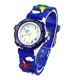 腕時計 男の子 ウォッチ 子供用 軽量 可愛い プレゼント 飛行機 紺色