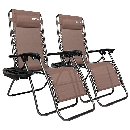Bonnlo Infinity Zero Gravity Chair, Outdoor Lounge Patio Chairs with Pillow and Utility Tray Adjustable Folding Recliner for Deck,Patio,Beach,Yard Pack 2(Brown)