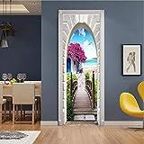Diy Creative 3D Seaside Town Door Paste Renovación Papel Autoadhesivo Dormitorio Dormitorio Pasillo Liquidación Secreta Decorativo Pvc Papel Pintado Pegatinas