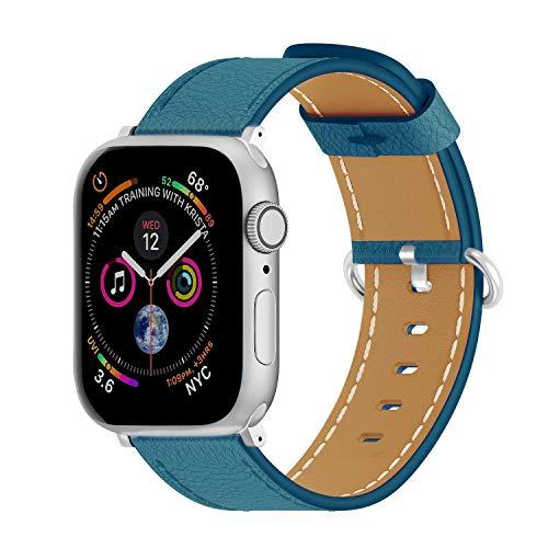 40mm 38mm Cuero de vaca correa de reloj de cuero para Apple Watch Banda de reemplazo deportivo Cinturón de pulsera vintage, compatible con iWatch Series 6 SE 5 4 3 2 1, para hombres mujeres, azul corr