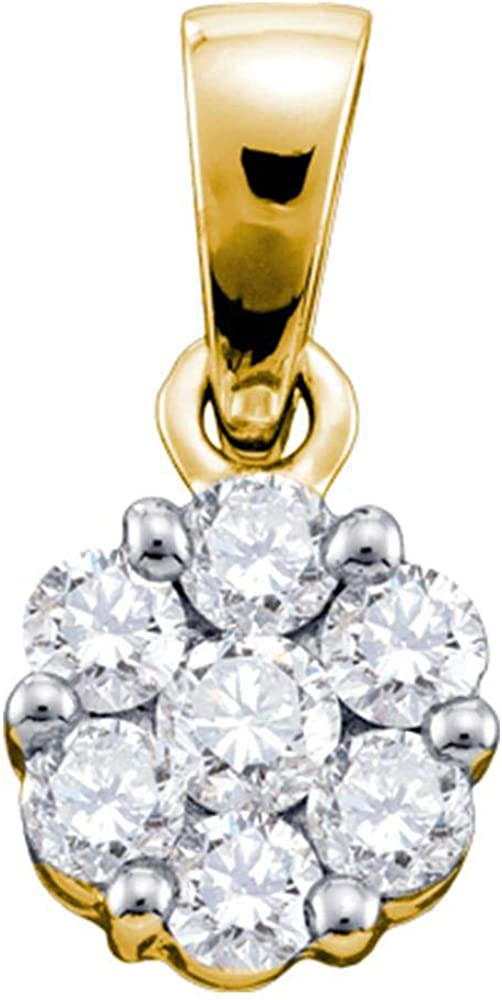 14kt Yellow Gold Womens Round Diamond Flower 4 Max 74% OFF 3 Ranking TOP1 Cluster Pendant