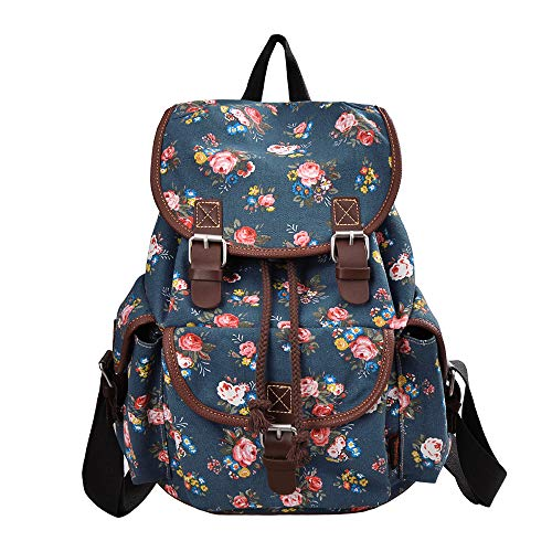 MoreChic Canvas Backpack Floral Printed Backpack School Bag for Teen Girls Blue Size: 12.2 * 7 * 13.4 IN