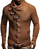 Leif Nelson Men's Knitted Jacket Turtleneck Cardigan Winter Pullover Hoodies Sweaters LN4195; Size US XXL, Brown