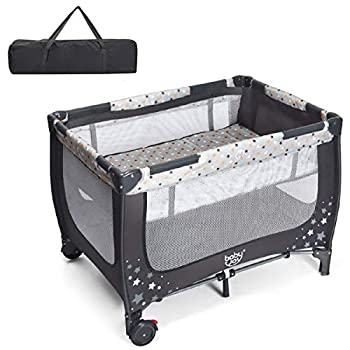 BABY JOY Foldable Baby Playard Double Layer Pack n Play with Breathable Mattress Universal Brake Wheel Lightweight Installation-Free Home Playard with Carry Bag for Infants & Toddlers Gray