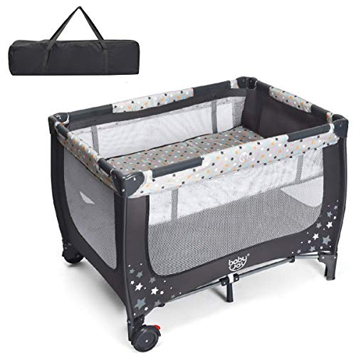 BABY JOY Foldable Baby Playard, Double Layer Pack n Play with Breathable Mattress, Universal Brake Wheel, Lightweight Installation-Free Home Playard with Carry Bag, for Infants & Toddlers (Gray)