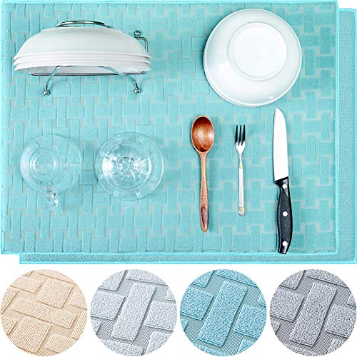 KDIJET Dish Drying Mat 2 Pack XL Blue Cross Sculpted Microfiber Super Absorbent Kitchen Counter Drying Mat