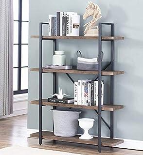 O&K FURNITURE 4-Shelf Vintage Industrial Bookcase,...