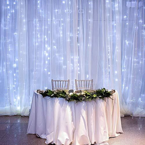Hezbjiti 600 LED Cortina de Luces 6m x 3m, 8 Modos Cadena de Luz Resistente al Agua, Decoración de Navidad, Fiestas, Bodas, Jardín
