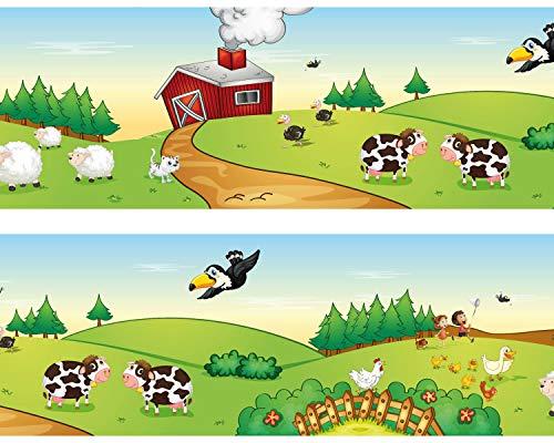 Kleisterbordüre 'Farmleben', 4-teilig 520x15cm, Tapetenbordüre, Wandbordüre, Borte, Wanddeko,Kinder, Bauernhof