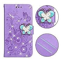 電話のレザーケース ホルダー&カードスロット&財布&ストラップ(パープル・バタフライ)とギャラクシーJ3(2018)のためのダイヤモンドがちりばめられた蝶愛の花柄水平フリップレザーケース、 (Color : Butterfly purple)