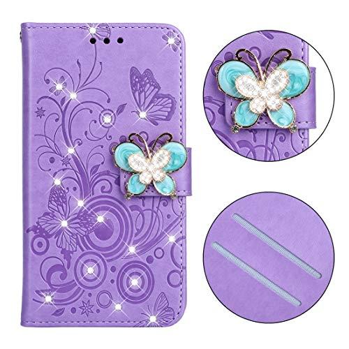 YXCY AYD Diamond Diamond Butterflies Love Flowers Pattern Horizontal Flip Funda de cuero con para Huawei P8 Lite (2017), Titular y tragamonedas de las tarjetas y Billetera y cordón (mariposa púrpura)