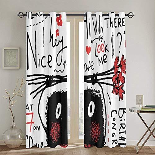 ZUL VerdunkelungsGardine, Gekritzel hässliches Monster, das Blumenstrauß-Geburtstags-Glückwunsch hält, 2 Panel Set Wohnzimmer Schlafzimmer Fenster Vorhänge104in x84in (260cm x210cm)