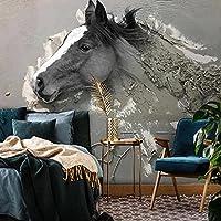 カスタム壁画壁紙3Dステレオレリーフ抽象馬動物壁紙リビングルームテレビ研究装飾壁紙3Dフレスコ画