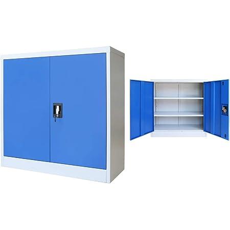 vidaXL Armoire de Bureau Métal 90x40x90 cm Gris et Bleu Meuble Rangement