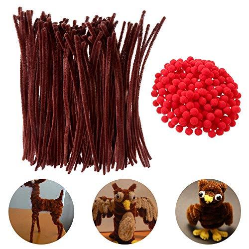 NACTECH 100 x Pfeifenreiniger Braun Pfeifenputzer Chenilledraht Biegeplüsch 30cm + 200 x Mini Pompons Rot Pom Poms Bastelset für Kinder Figuren Basteln