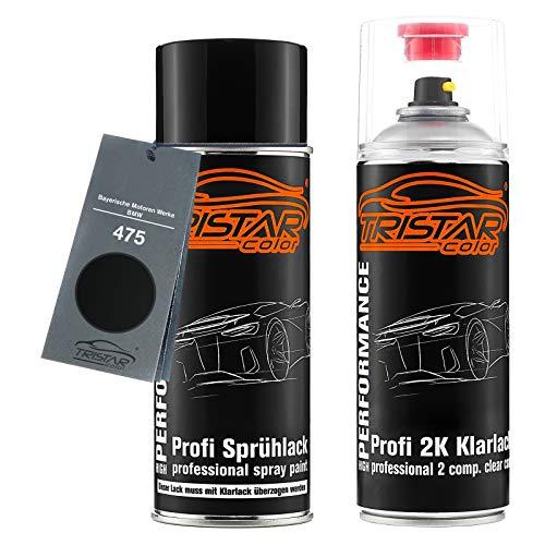 TRISTARcolor Autolack 2K Spraydosen Set für Bayerische Motoren Werke/BMW 475 Blacksaphire Metallic Basislack 2 Komponenten Klarlack Sprühdose