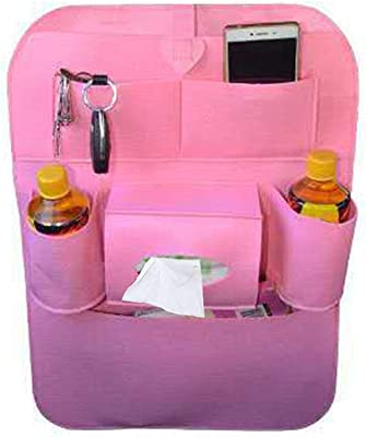 LBgrandspec Multi-Function Car Seat Back-Mounted Storage Rack Debris Tissue Bracket Bag Pink