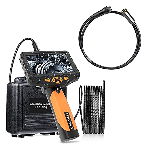 Teslong Inspection Camera, Industrial Endoscope-Borescope, 16.4 ft Dual Lens & 3.3ft Auto Lens Cable, 6 LED Lights & 4 LED Lights, 1.0MP & 5.0MP HD Image, 4.5 Inches Display Screen, 32 GB Card, IP67 W