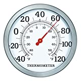 """WiHoo 12"""" Indoor Outdoor Thermometer,Large Wall Thermometer with Stainless Steel for Outside, Room or Decorative"""