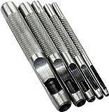 AERZETIX - Juego de 5 Herramientas de Punzonado/Perforación/Sacabocados de golpe 2/3/4/6/8mm - Punzón hueco para hacer agujeros - Cinturón/Cuero/Corcho/Tela/Correa de reloj - Martillo - Acero - C45879