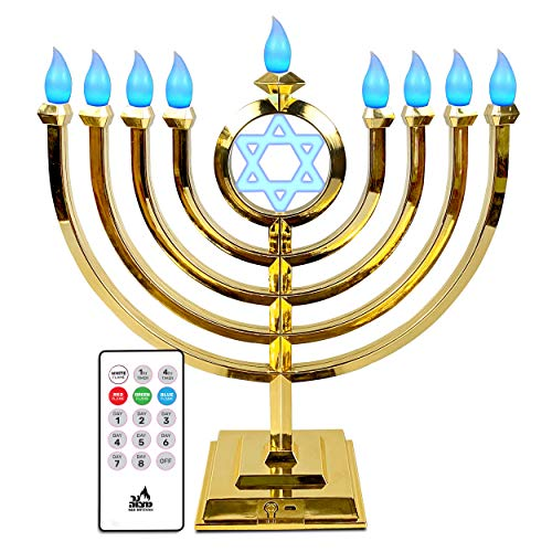 Ner Mitzvah LED Electric Hanukkah Menorah - Color Changing LED Traditional Classic Chanukah Menorah with Remote - Battery or USB Powered - Included- Gold