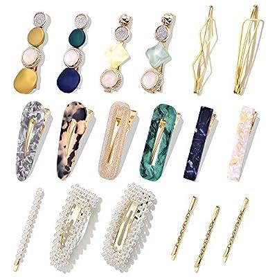 Macaron Pearl Hair Clips Set,Korean Fashion Acrylic Resin Handmade Cute Hair Barrettes,Metal Bobby Pins Hair Accessories for Women Girls Party Wedding