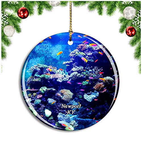 Weekino Newport Aquarium Kentucky USA Christbaumkugel Hängender Weihnachtsbaum Anhänger Dekor Travel Souvenir Collection Porzellan 2,85 Zoll