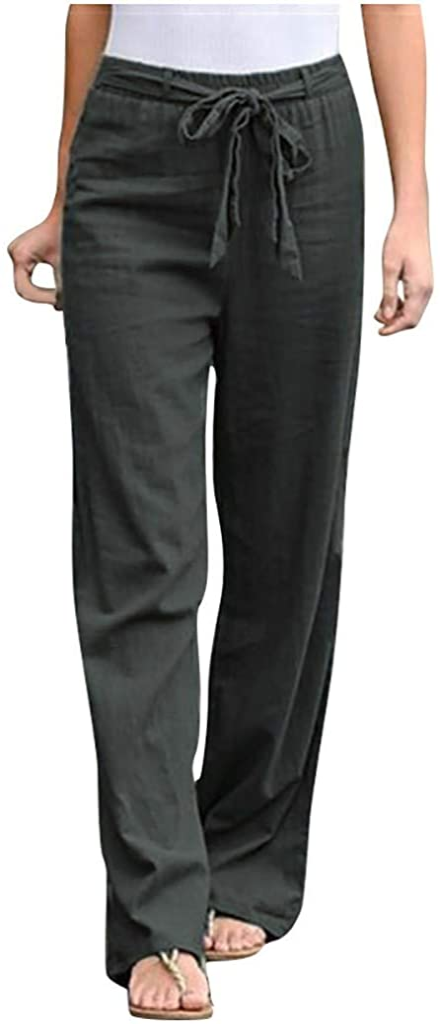 Mingyun Women Linen Cropped Pants Drawstring Waist Casual Cotton Long Trousers Pockets Plus Size Lightweight Capri Pant