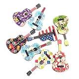 EXCEART 100 Piezas de Botones de Madera Novedad Botones Decorativos en Forma de Guitarra Botón de Coser de Colores con 2 Agujeros Redondos para DIY Scrapbooking Suministros de Artesanía